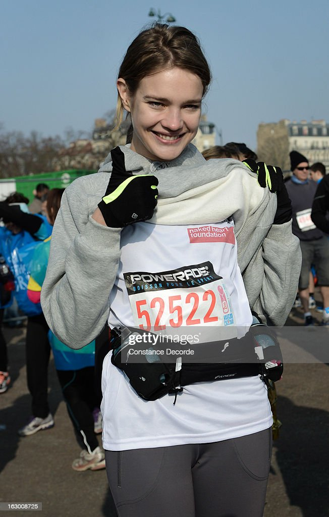 Model Natalia Vodianova poses before she runs Paris Semi-Marathon on the benefit of 'Naked Heart Foundation' on March 3, 2013 in Paris, France.