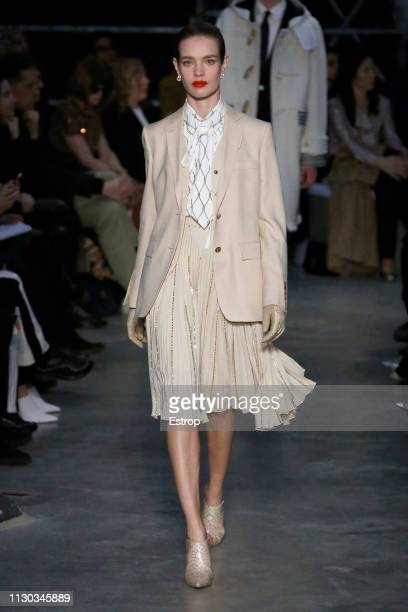 Model Natalia Vodianova walks the runway at the Burberry show during London Fashion Week February 2019 on February 17 2019 in London England
