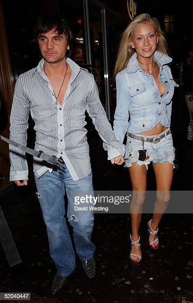 Model Natalie Denning and her boyfriend attend the 1st Birthday party for Nuts Magazine on January 20 2005 at Trap Nightclub in Wardour Street London