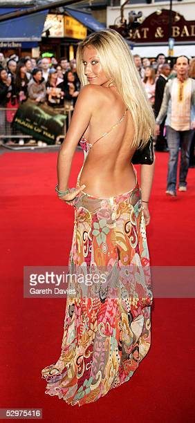 Model Natalie Denning arrives at the UK Premiere of House of Wax at Vue Leicester Square on May 24 2005 in London England