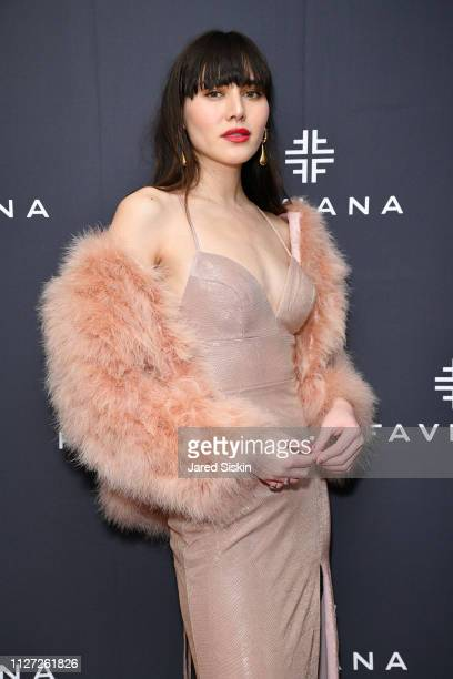Model Natalie Suarez attends Faviana's Annual Oscars Red Carpet Viewing Party on February 24 2019 at 75 Wall St in New York City