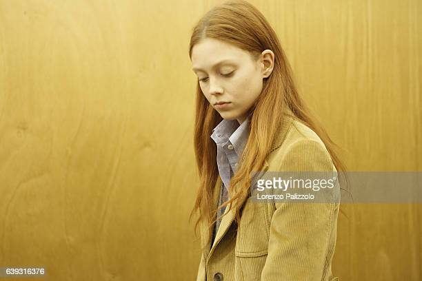 Model Natalie Westling is seen backstage ahead of the Prada show during Milan Men's Fashion Week Fall/Winter 2017/18 on January 15 2017 in Milan Italy