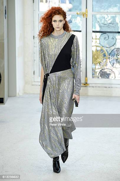 Model Natalie Westling walks the runway during the Louis Vuitton show as part of the Paris Fashion Week Womenswear Spring/Summer 2017 on October 5...