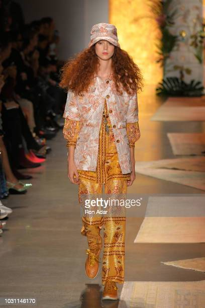 Model Natalie Westling walks the runway for Anna Sui during New York Fashion Week The Shows at Gallery I at Spring Studios on September 10 2018 in...