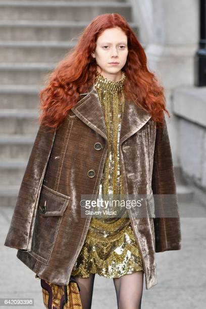 Model Natalie Westling walks the runway for the Marc Jacobs Fall 2017 Show at Park Avenue Armory on February 16 2017 in New York City