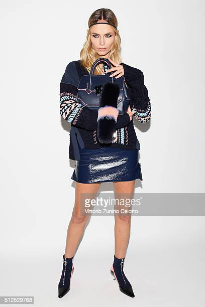 Model Natasha Poly poses backstage ahead of the Versace show during Milan Fashion Week Fall/Winter 2016/17 on February 26 2016 in Milan Italy