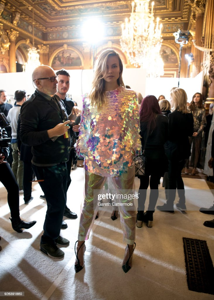 Model Natasha Poly poses backstage before the Balmain show as part of the Paris Fashion Week Womenswear Fall/Winter 2018/2019 on March 2, 2018 in Paris, France.