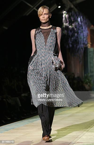 Model Natasha Poly walks down the runway during the Roberto Cavalli show as part of Milan Womenswear Fashion Week Spring/Summer 2010 at on September...
