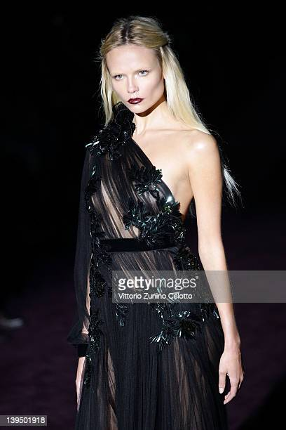 Model Natasha Poly walks the runway at the Gucci Autumn/Winter 2012/2013 fashion show as part of Milan Womenswear Fashion Week on February 22 2012 in...