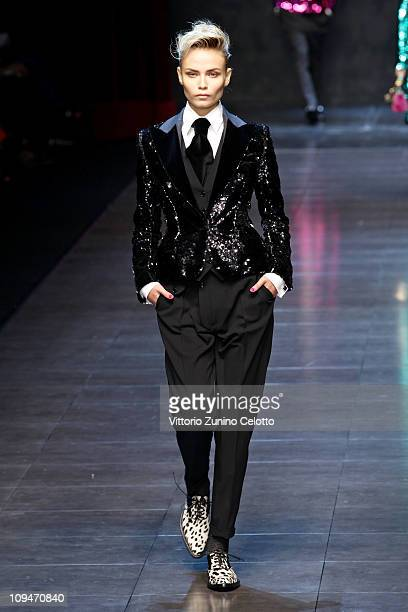 Model Natasha Poly walks the runway during the Dolce Gabbana show as part of Milan Fashion Week Womenswear Autumn/Winter 2011 on February 27 2011 in...