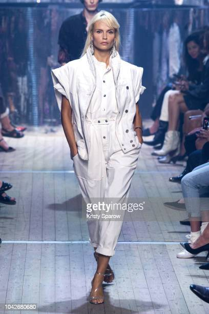 Model Natasha Poly walks the runway during the Isabel Marant finale as part of Paris Fashion Week Womenswear Spring/Summer 2019 on September 27, 2018...