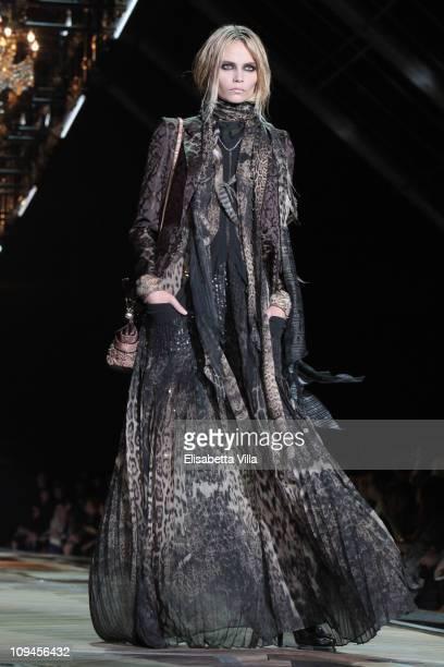 Model Natasha Poly walks the runway during the Roberto Cavalli Fashion Show as part of Milan Fashion Week Womenswear Autumn/Winter 2011 on February...