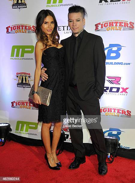 Model Nathalia Ashba and her husband guitarist DJ Ashba of Guns N' Roses arrive at the seventh annual Fighters Only World Mixed Martial Arts Awards...