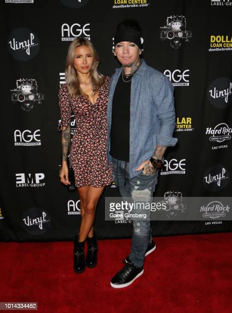 Model Nathalia Ashba and her husband guitarist Dj Ashba of Sixx AM attend a CD release party for COOP at Vinyl inside the Hard Rock Hotel Casino on...