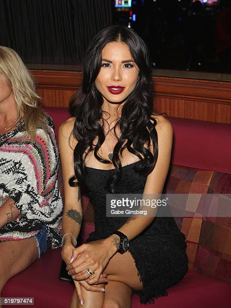 Model Nathalia Henao attends an after party for the grand opening of guitarist Dj Ashba's Ashba Clothing Store at the Stratosphere Casino Hotel on...