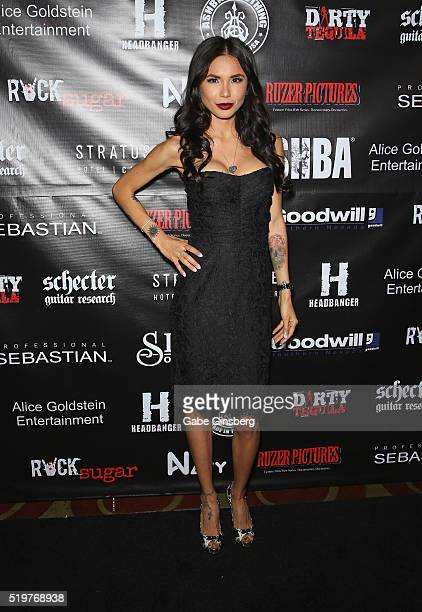 Model Nathalia Henao attends the grand opening of guitarist Dj Ashba's Ashba Clothing Store at the Stratosphere Casino Hotel on April 7 2016 in Las...