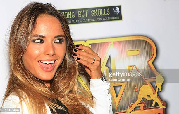 Model Nathalia Henao shows off her engagement ring at the 2013 Vegas Rocks magazine music awards at The Joint inside the Hard Rock Hotel Casino on...