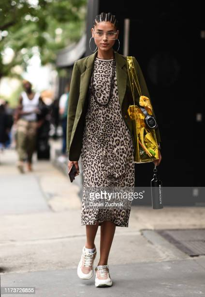 Model Nayeli Figueroa is seen outside the Gabriella Hearst show during New York Fashion Week S/S20 on September 10 2019 in New York City