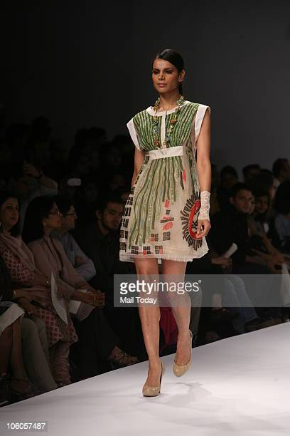Model Neha Kapur walks the ramp for the show Geisha Designs by Paras Shalini on the third day of the Wills Lifestyle India Fashion Week in New Delhi...