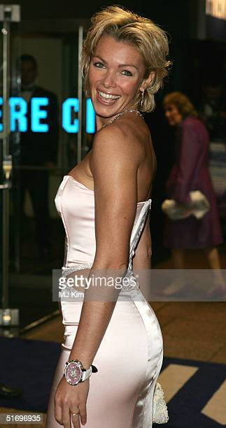 """Model Nell McAndrew arrives for the Cinema and Television Benevolent Fund Royal Film Performance annual charity screening of """"Ladies In Lavender"""" at..."""