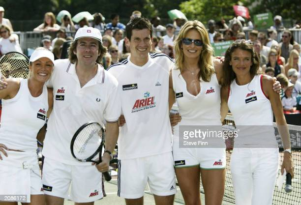 "Model Nell McAndrew, TV presenter Jonathan Ross, tennis player Tim Henman, model Penny Lancaster and tennis player Annabel Croft at the ""Ariel..."