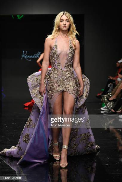 Model Nichole Kennedy walks the runway wearing Kenneth Barlis at Los Angeles Fashion Week FW/19 Powered by Art Hearts Fashion at The Majestic...