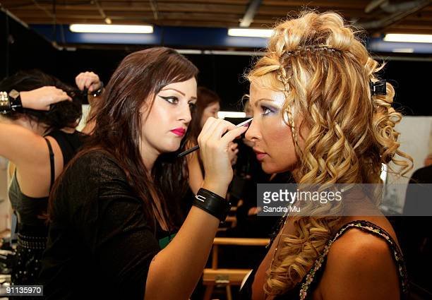 Model Nicky Watson prepares backstage ahead of the A Muse by Richie Rich show on day four of Air New Zealand Fashion Week 2009 at the Westpac Tent...