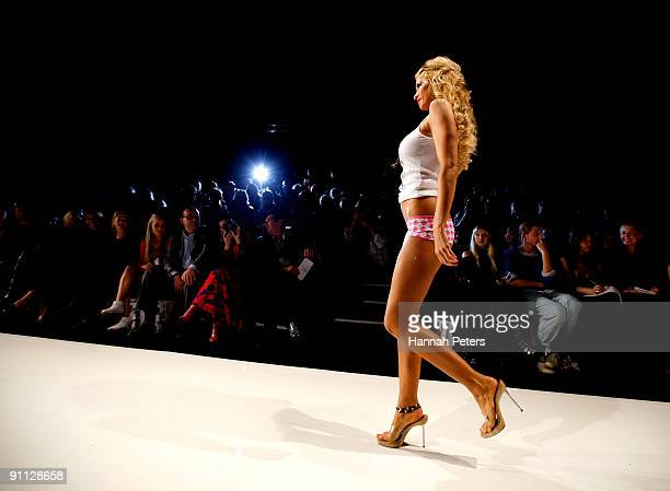 Model Nicky Watson showcases designs from A Muse by Richie Rich on the catwalk on day four of Air New Zealand Fashion Week 2009 at the Westpac Tent...