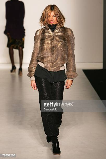 Model Nicky Watson showcases designs on the catwalk by Keucke as part of the Verging on Brilliance show on the third day of Air New Zealand Fashion...