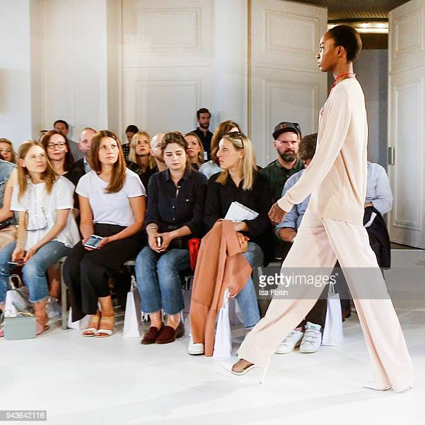 Model Nicole Atieno walks the runway at the Malaikaraiss defilee during the Der Berliner Mode Salon Spring/Summer 2017 at Kronprinzenpalais on June...