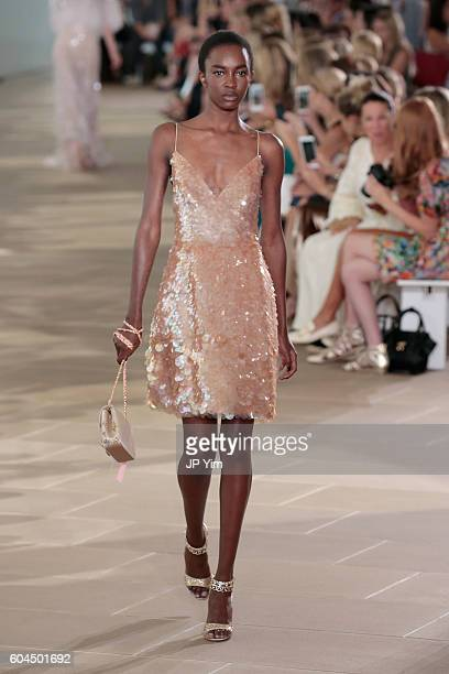 Model Nicole Atieno walks the runway for the Monique Lhuillier fashion show during New York Fashion Week September 2016 at The IAC Building on...