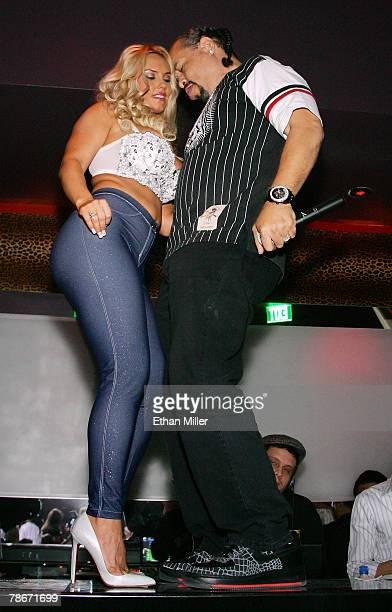 Model Nicole Coco Austin and her husband actor/rapper IceT dance on the DJ booth as they host the New Year's weekend kickoff party for Prive Las...