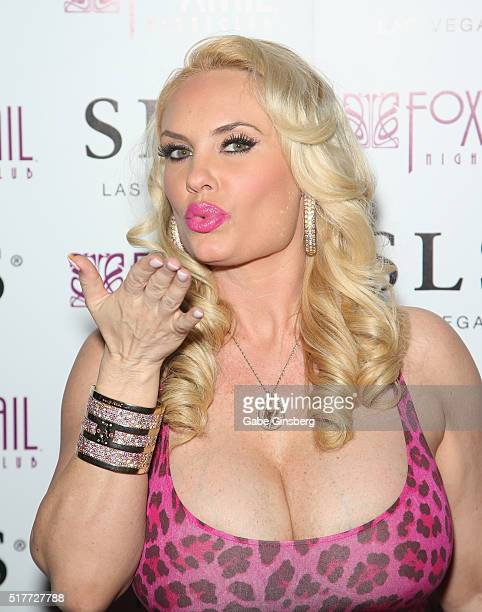 Model Nicole Coco Austin blows a kiss as she attends her birthday party at Foxtail Nightclub at SLS Las Vegas on March 27 2016 in Las Vegas Nevada