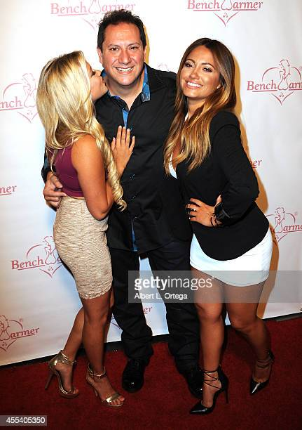 Model Nicole Loum CEO of Bench Warmer Brian Wallos and model Jessica Burciaga arrive for the Benchwarmer Back To School Red Carpet Party in...