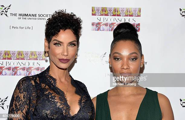 Model Nicole Murphy and artist Bria Murphy attend the debut gallery opening of Bria Murphy's Subconscious benefiting the Pets for Life Program for...