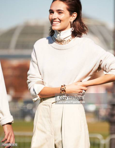 Model Nicole Neumann is photographed for Madame Figaro on October 9, 2018 in Paris, France. Necklace, bracelet, earrings and ring , pullover , shirt...
