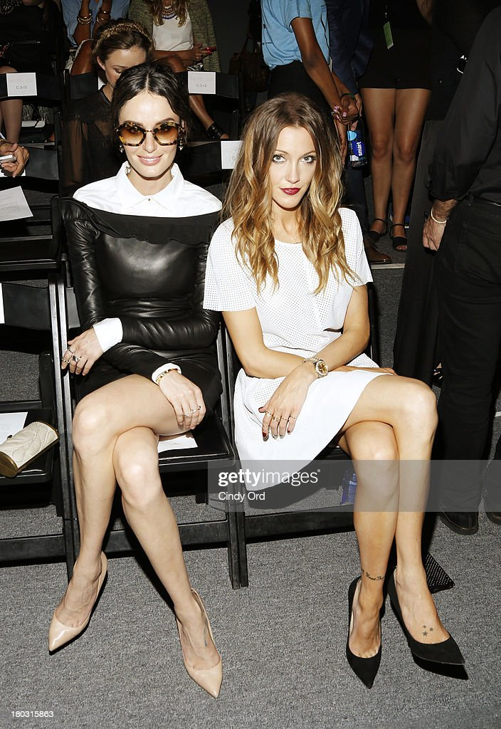 Model Nicole Trunfio (L) and actress Katie Cassidy attend the Rachel Zoe fashion show during Mercedes-Benz Fashion Week Spring 2014 at The Studio at Lincoln Center on September 11, 2013 in New York City.