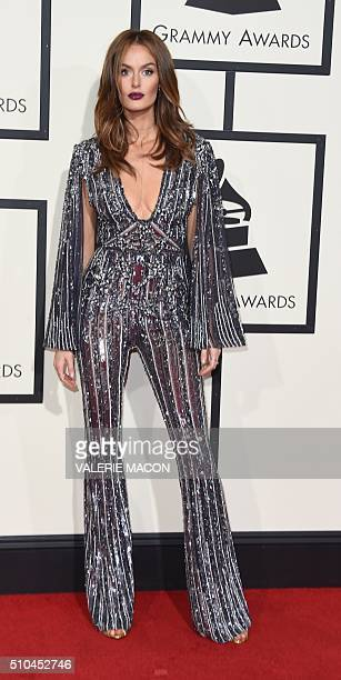 Model Nicole Trunfio arrives on the red carpet during the 58th Annual Grammy Music Awards in Los Angeles February 15 2016 AFP PHOTO/ Valerie MACON /...
