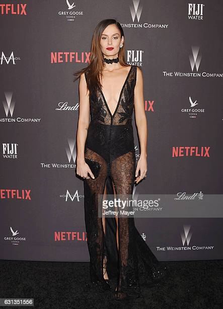 Model Nicole Trunfio attends The Weinstein Company and Netflix Golden Globe Party presented with FIJI Water Grey Goose Vodka Lindt Chocolate and...