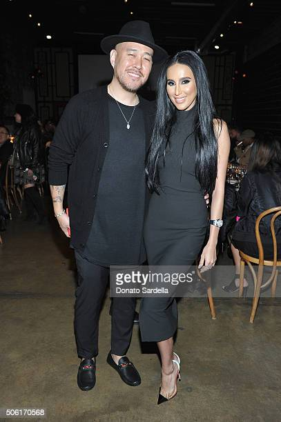 Model Nicolette Lacson and CoFounder of Superism Ben Baller attend the REVOLVEman and Superism launch event at SmogShoppe on January 21 2016 in Los...