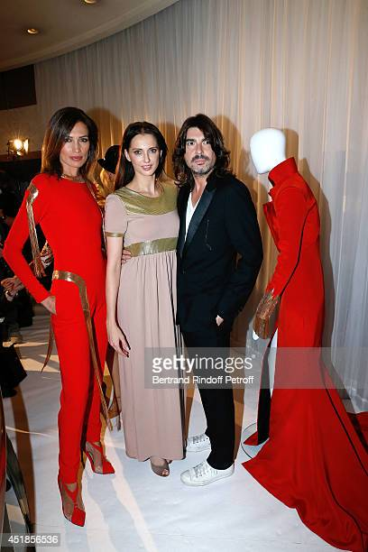 Model Nieves Alvarez actress Frederique Bel and Fashion designer Stephane Rolland attend the Stephane Rolland show as part of Paris Fashion Week...