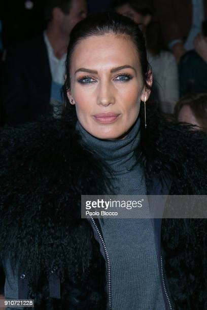Model Nieves Alvarez attends the front row of Duyos show during Mercedes Benz Fashion Week Madrid Autumn / Winter 2018 at Ifema on January 26 2018 in...