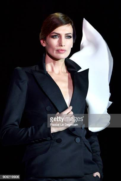 Model Nieves Alvarez walks the runway during the Stephane Rolland Spring Summer 2018 show as part of Paris Fashion Week on January 23 2018 in Paris...