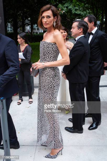 Model Nieves Álvarez is seen arriving at 'Yo Dona' International Awards 2019 at ThyssenBornemisza Museum on June 24 2019 in Madrid Spain