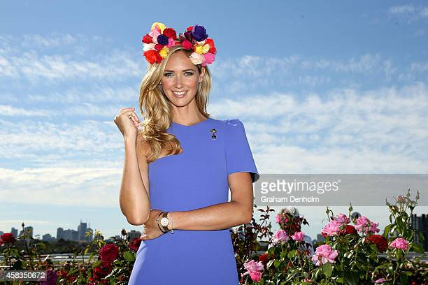 Model Nikki Phillips poses in the Fashion on the Field enclosure on Melbourne Cup Day at Flemington Racecourse on November 4 2014 in Melbourne...