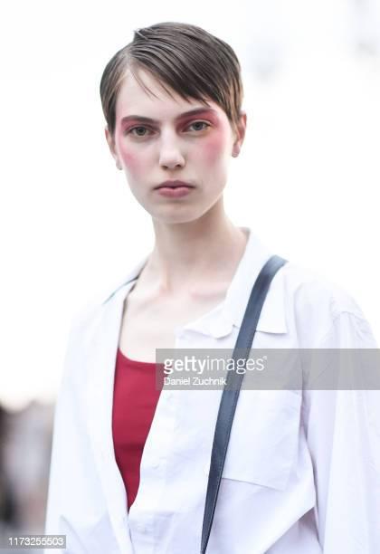 Model Nikki Tissen is seen outside the Jason Wu show during New York Fashion Week S/S20 on September 08, 2019 in New York City.