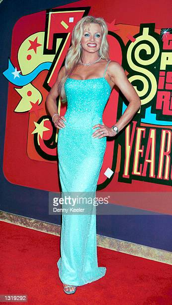 Model Nikki Ziering poses at CBS Studios to celebrate Bob Barker''s 30th anniversary as host of The Price Is Right June 6 2001 in Los Angeles CA...