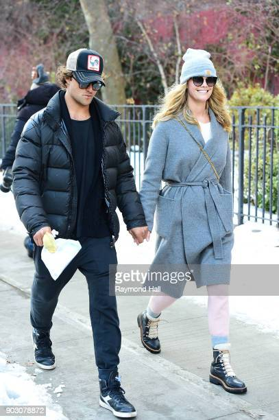 Model Nina Agdal and Jack BrinkleyCook are seen walking in Soho on January 9 2018 in New York City