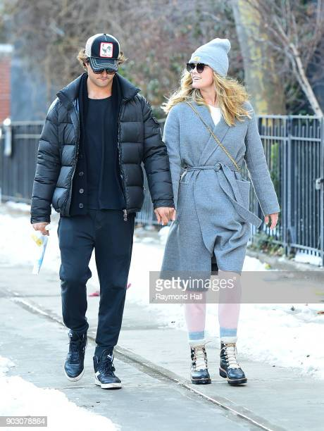 Model Nina Agdal and Jack BrinkleyCook are walking in Soho on January 9 2018 in New York City