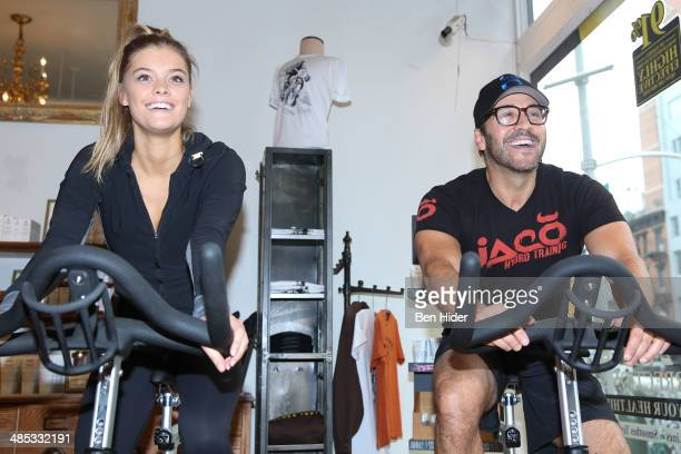 Model Nina Agdal and Jeremy Piven attend the Ride for Charity to Benefit the Food Bank of New York at Kiehl's Since 1851 Flagship Store on April 17...
